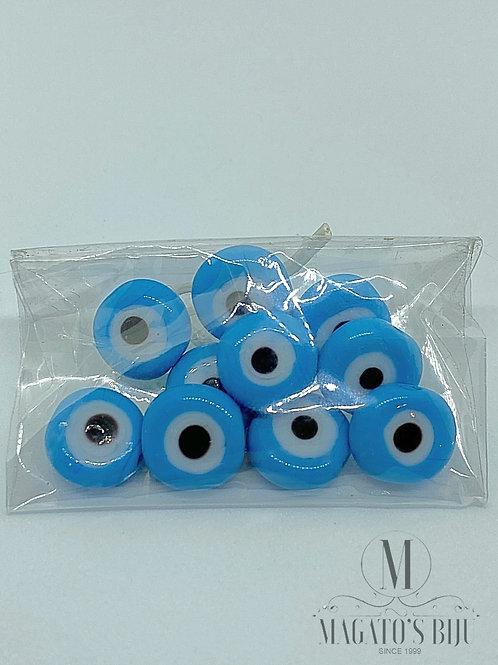 Olho Grego Achatado Furo Passante Azul