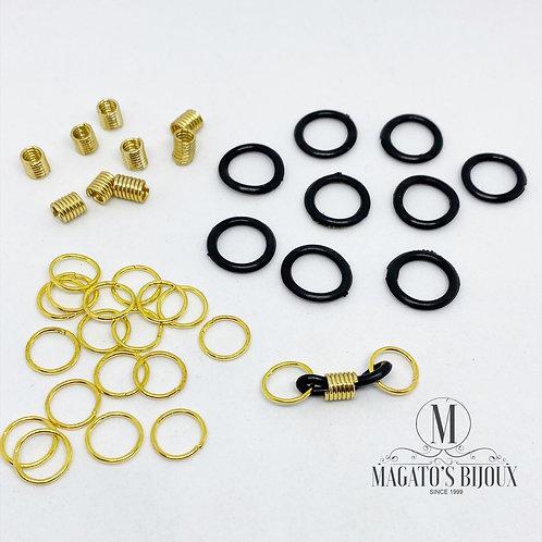 Borrachinha P/ Óculos Preta com Dourado