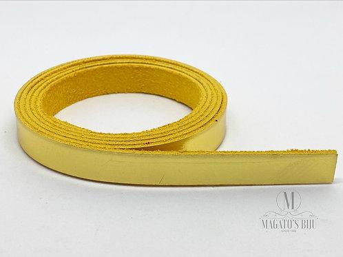 Fio de Couro Achatado Médio Dourado