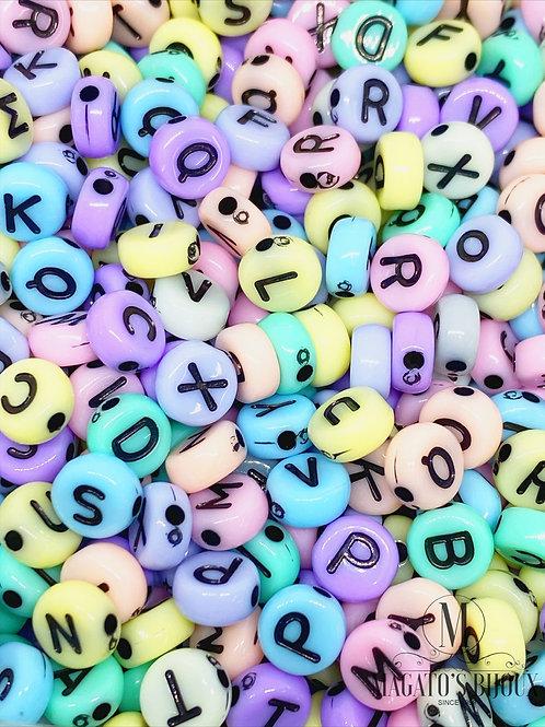 Contas de Letrinhas Achatadas Candy Color