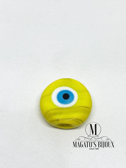 Olho Grego Achatado Amarelo Furo Passante