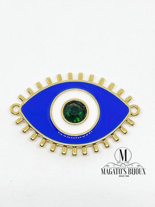 Pingente Olho Grego Azul Resinado C/ Strass