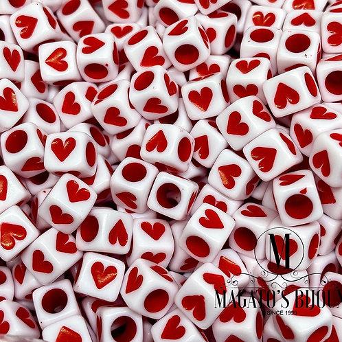 Contas de Coração Vermelho
