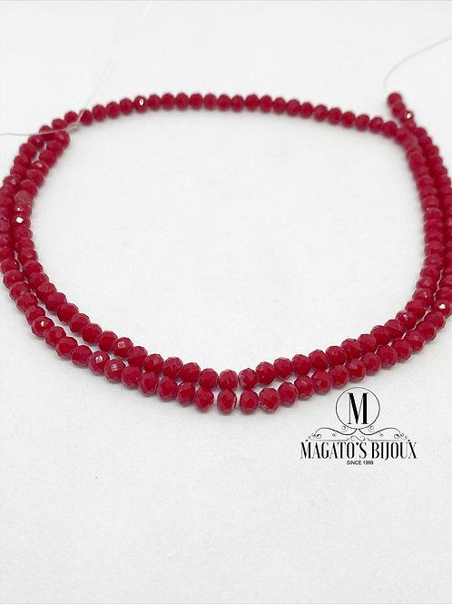 Fio de Cristal  Vermelho Escuro Leitoso N 04