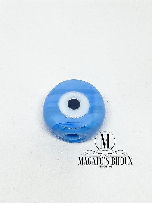 Olho Grego Azul Bebê Achatado Furo Passante