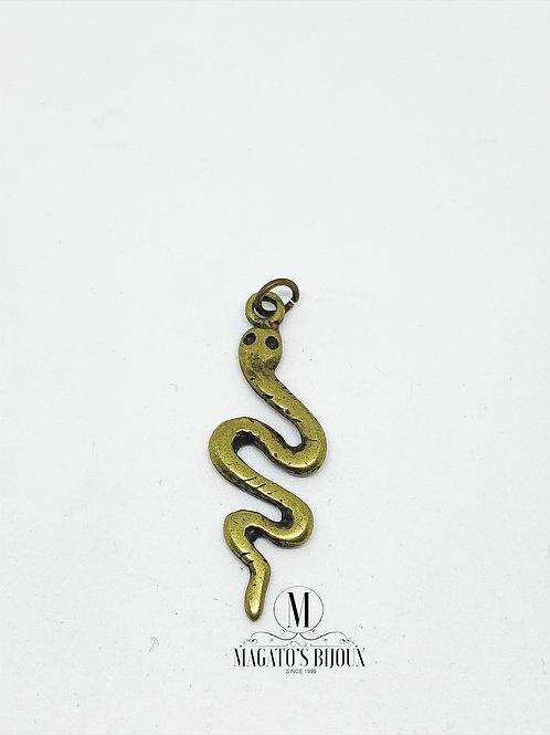 Pingente Cobra com Argolinha Ouro Velho