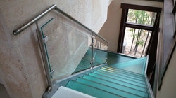 glass stairs and railing