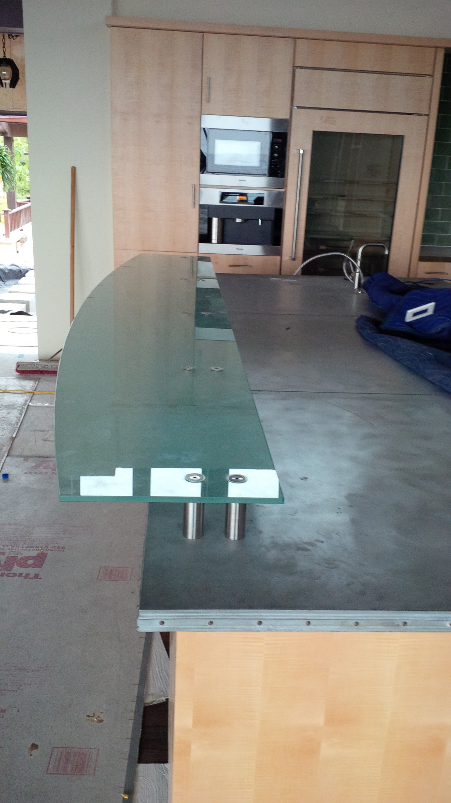 Frosted glass counter top on standof