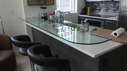 Floating glass kitchen counter top