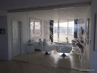 Tree Design Etched on Half-inch Glass Doors