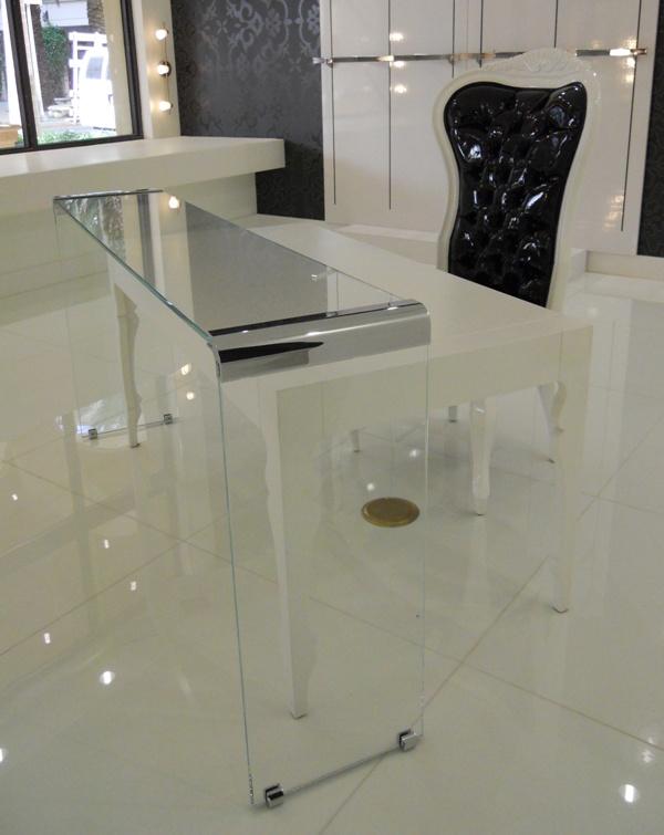 Custom glass desk