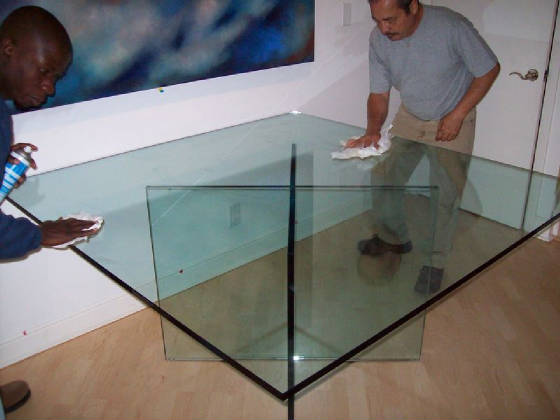 Custom square glass table