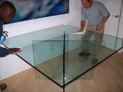 Custom square glass table