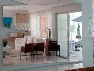 Custom Geometric Mirror Installed in Key Biscayne Residence