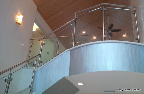 glass railing - steel top rail
