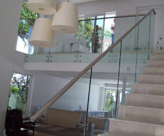 glass railing with steel standoffs