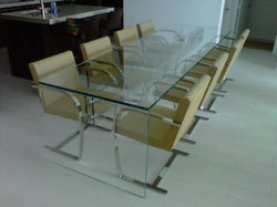 Custom glass conference table
