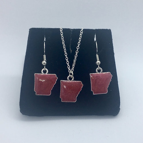 Arkansas Charm Necklace & Earring Set