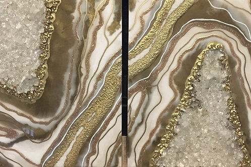 Gold White Geode Inspired