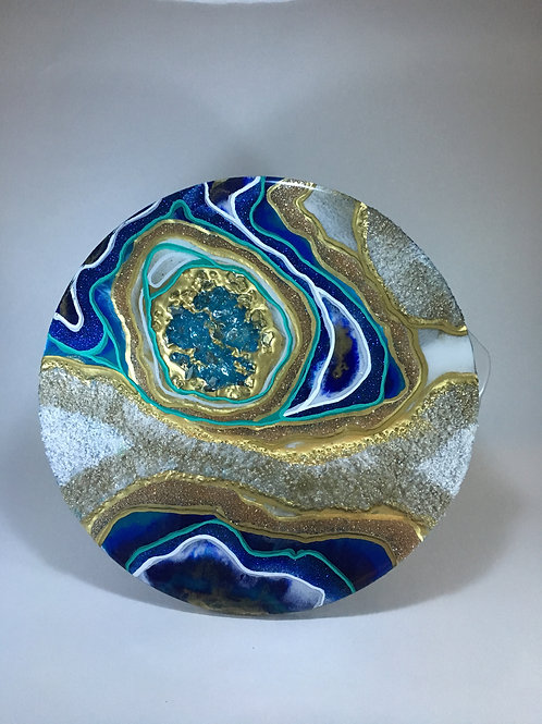 "Teal Blue Gold Geode Inspired 8"" Round"