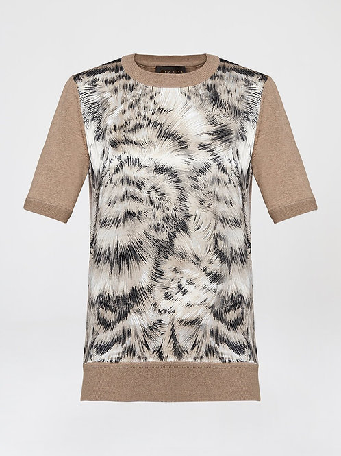 Printed silk front pullover 5034009