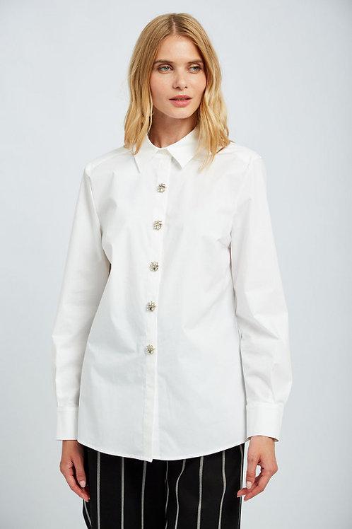 חולצה כותנה לבנה כפתורי תכשיט סברובסקי Swarovski Kristall