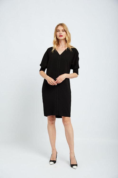 V שמלה שחורה קרפ שרוולים קצרים צווארון