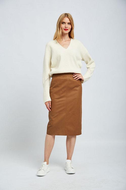 חצאית עור עם חגורה אלסטית ESCADA
