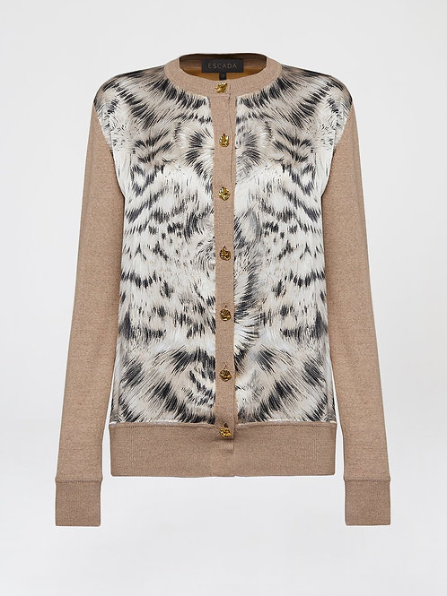 Printed wool silk cardigan 5034010
