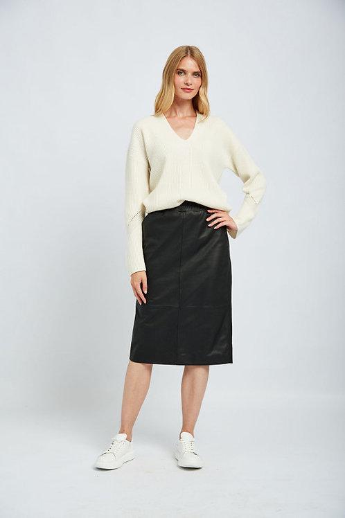 חצאית עור עם חגורה אלסטית אסקדה