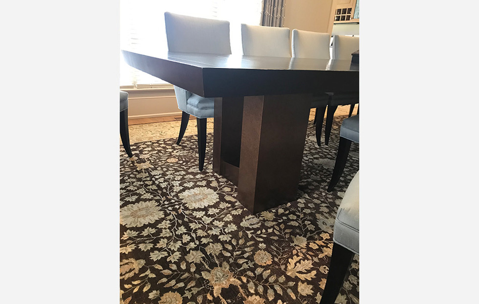 Custom Dining Table - detail, Snider Metcalf Interior Design