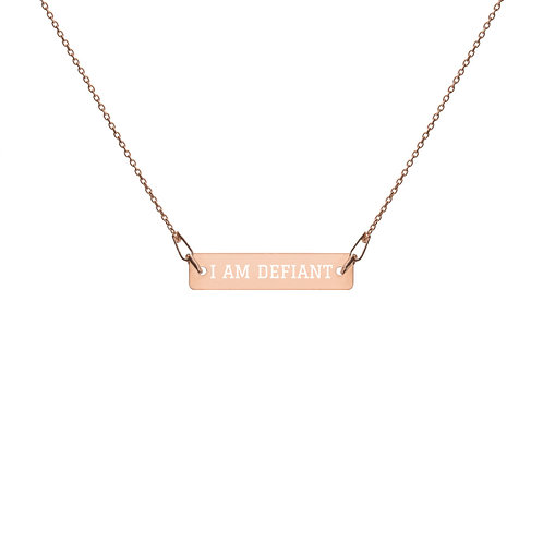 I AM DEFIANT Engraved Bar Chain Necklace