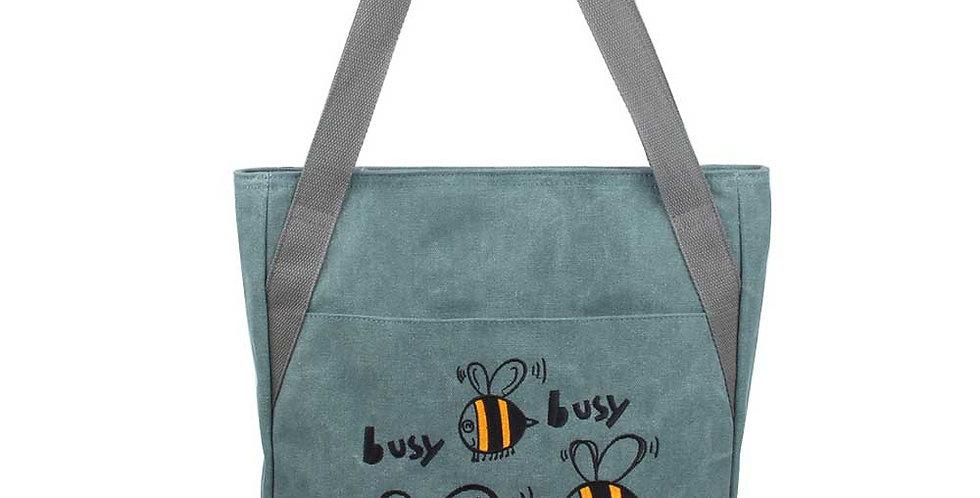 dark green embroidered cute drawing canvas bag,Tote Bag, Long Tote Bag