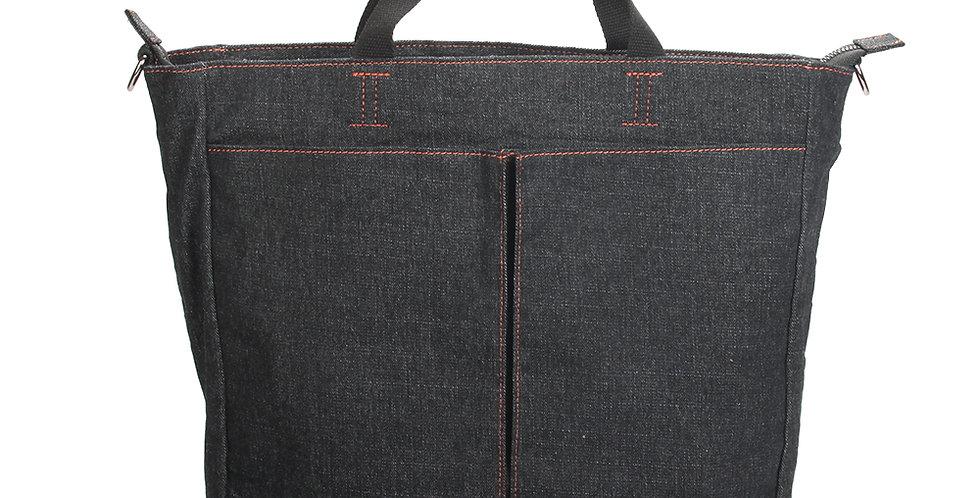 Stylish black denim handheld bag with crossbody strap