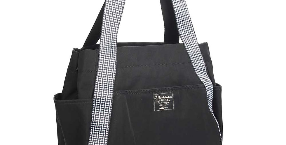 Shoulder Strap design nylon bag - black and white pattern