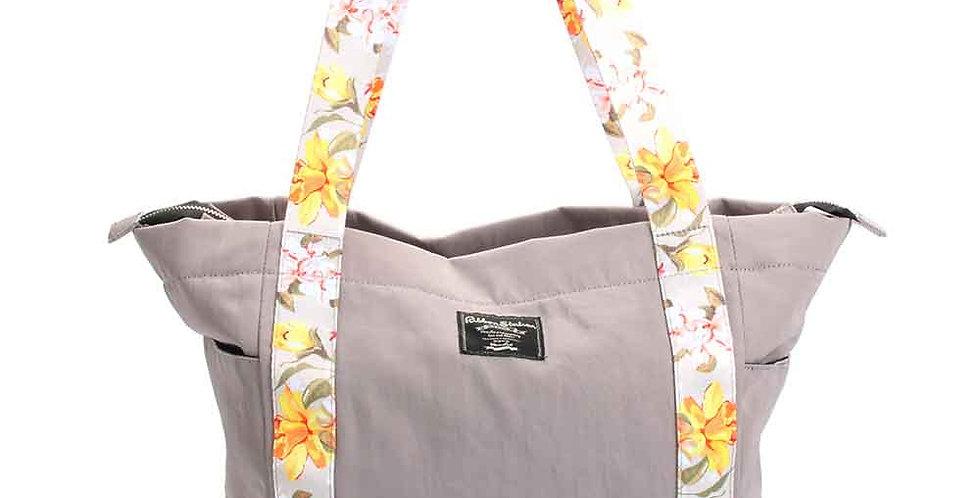 Yellow flowers shoulder straps matching grey nylon handbag