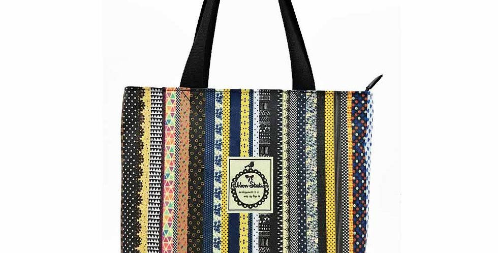Striped pattern waterproof Long Tote bag