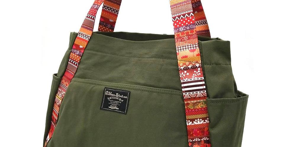 Green Nylon matching printed Minority pattern strap shoulder bag