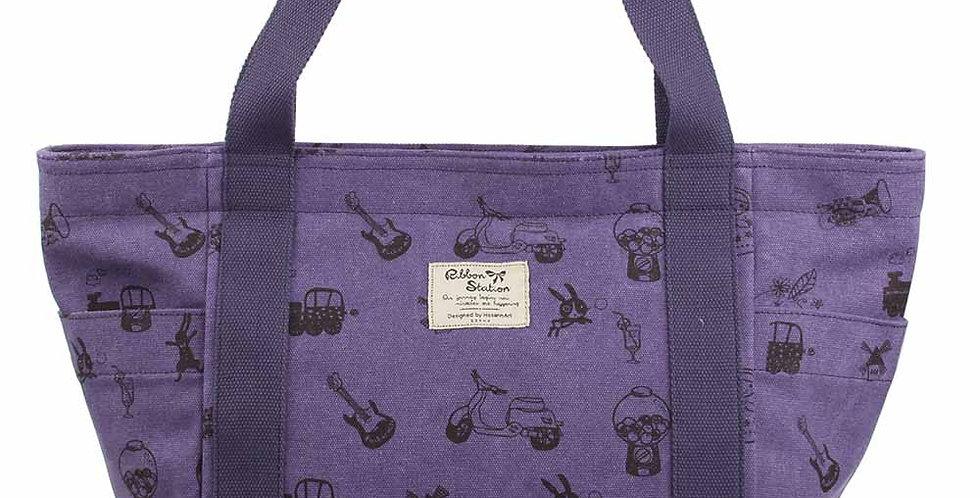 purple color silkscreen pattern canvas big bag