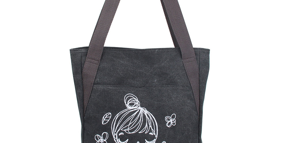 Line drawing style of a  Ballet girl in Embroidery stitches gray Canvas Bag