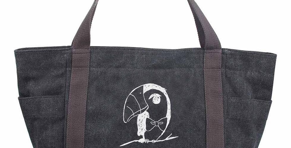 Black canvas silkscreen lovelybear big bag tote bag
