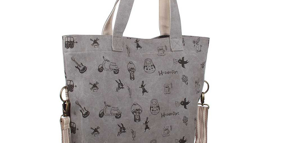 grey color silkscreen pattern canvas big bag