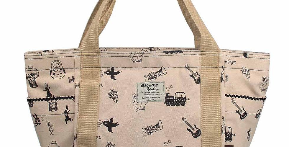 beige color silkscreen pattern canvas big bag