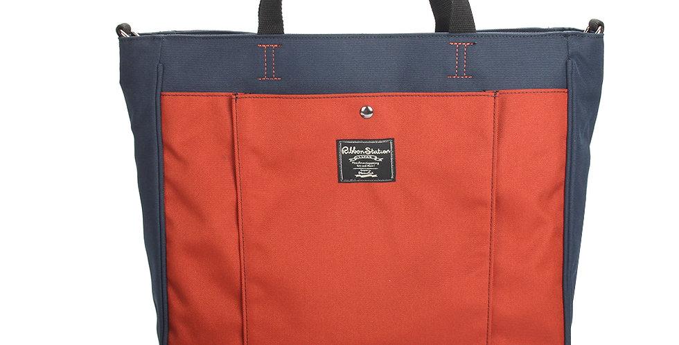 Blue matching orange handheld poly-canvas bag