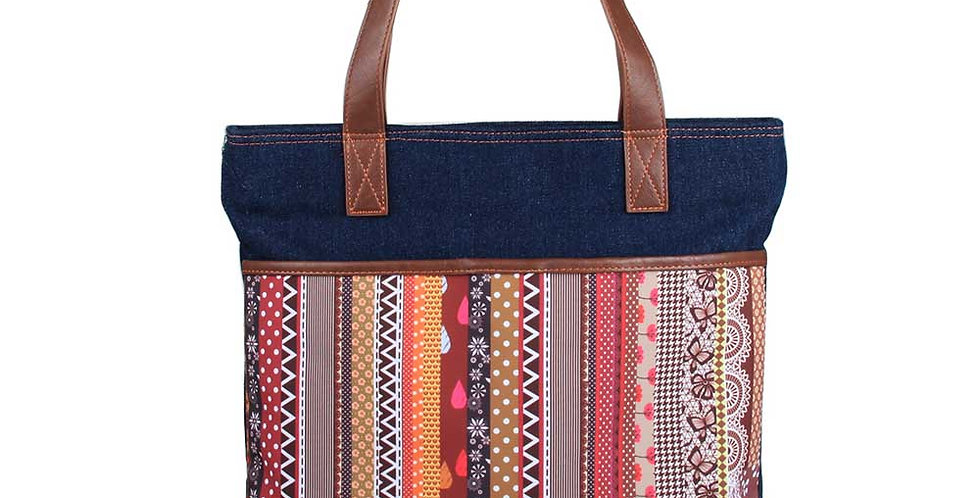 Stripe pattern printing front pocket matching with Denim tote bag