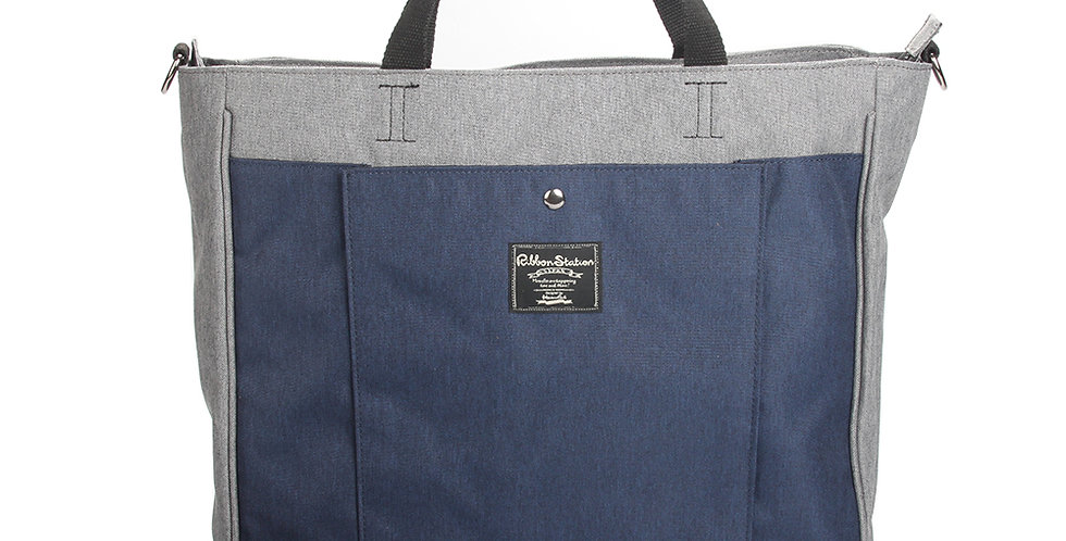 Gray matching blue handheld poly-canvas bag