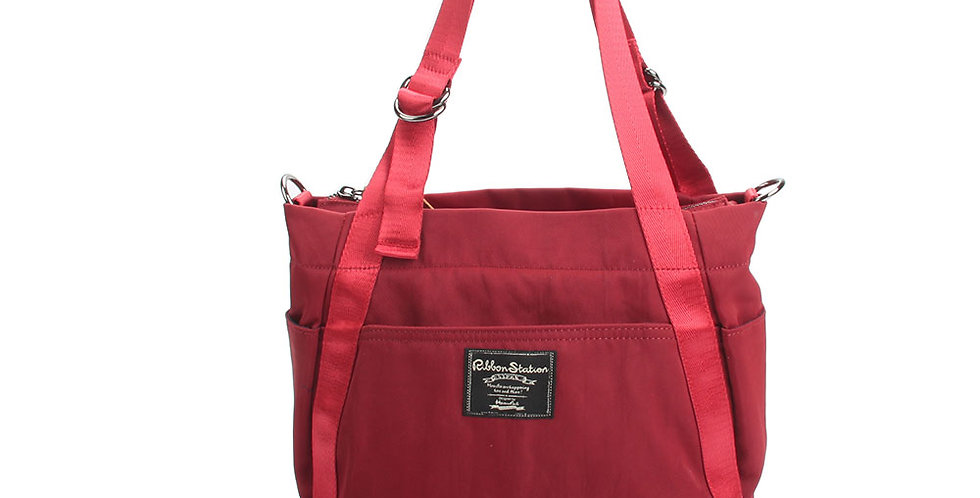 Bright Dark Red Nylon 3 ways nylon handbag