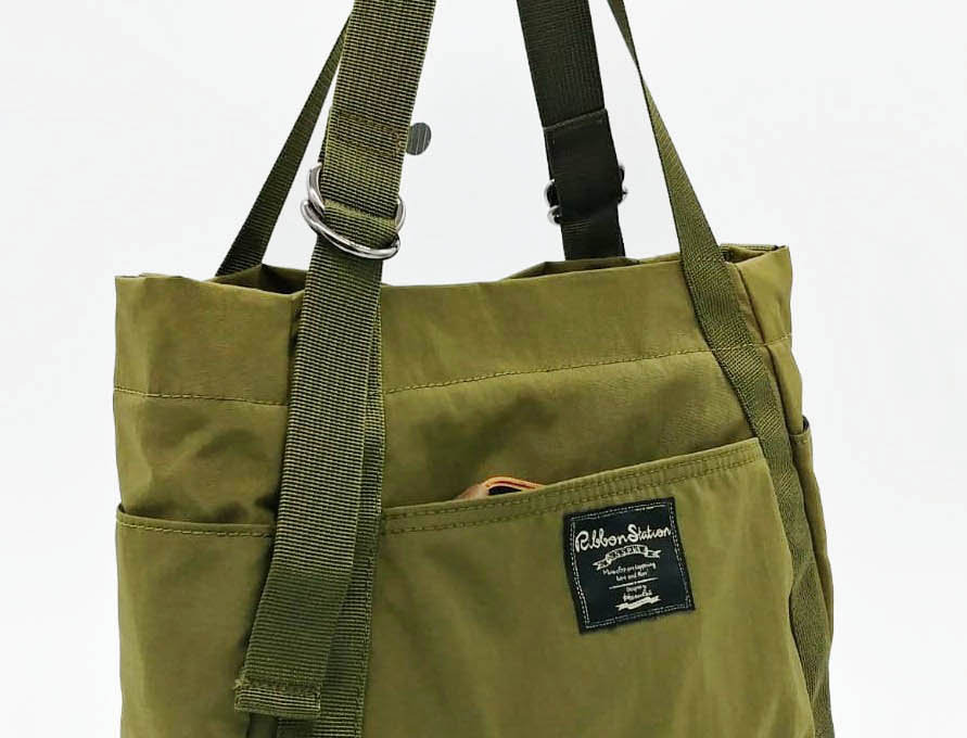 Natural Green Nylon 3 ways handbag