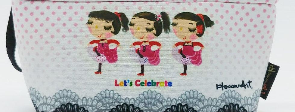 Three best girl friends celebrating – ballerina illustration cosmetic pouch