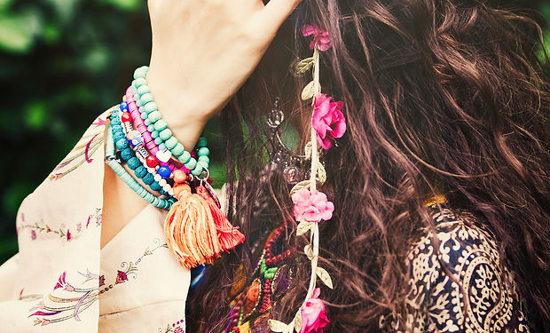 woman boho style hair fashion details cl